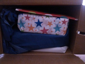 One friend sent us a package in which everything was wrapped like a birthday present.