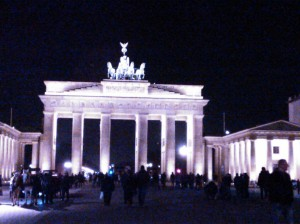The Brandburg Tor at night. My camera phone does not do it justice.