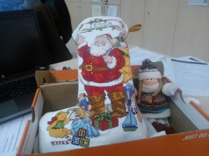 This is my favorite so far. My stepmom sent my stocking from home, packed with little Christmas presents, which I'm not allowed to open yet. (It also included the Christmas letter my dad sends every year.) I got this package at work and started to cry right before I was supposed to meet with parents.